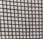 Tissu fond blanc avec tissage de fils bleu marine en carreaux
